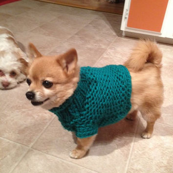 Knitting Pattern Chihuahua Jumper : Hand Knit Chihuahua Sweater Little Dog from GrahamsBazaar on Etsy