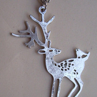 silver elk deer and bird necklace Double by sweethearteverybody