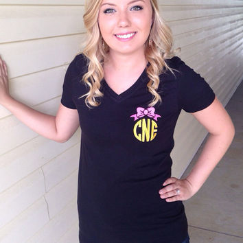 Monogrammed Bow Vneck or Tshirt-you choose colors- initials or Greek letters -Bridesmaids