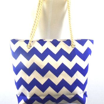In Style Royal Blue Twist Rope Handle Chevron Tote Bag