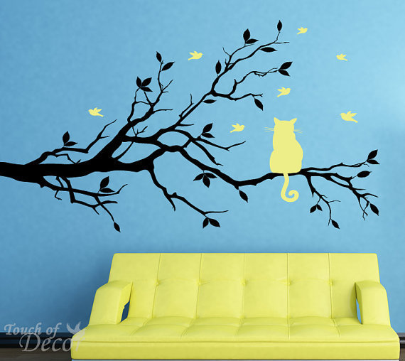 Removable Vinyl Wall Decal Cat Sitting on a by touchofdecor