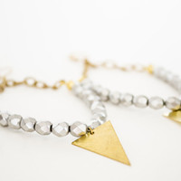 Raw Brass Triangle Dangle Earrings - Czech Silver Faceted Firepolish Glass Beads
