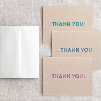 Thank You Cards, Set of 6 - Blue, Purple, Teal - Brown Recycled Cards - Bridal Party, Wedding Party - Minimalist, Modern