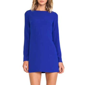 Shona Joy Magnetic Long Sleeve Shift Dress in Royal