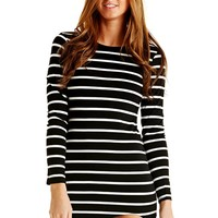 Striped Curved Hemline Long Sleeve Dress