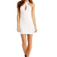 White Halter Bodycon Keyhole Dress