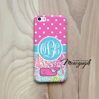 iPhone 5 Case, Monogram iPhone 5S Case Cute Pink Whale Polka Dot vineyard vines inspired pattern, iPhone 4 Case, iPhone 3, iPod Touch Case