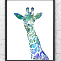Blue Giraffe Watercolor Painting - Animal Art - Children's Wall Decor