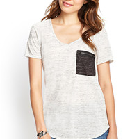 Marled Zip Pocket Tee