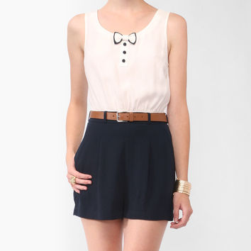 Two-Tone Bow Romper w/ Belt | FOREVER21 - 2000042218