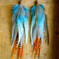 YOUNG and WILD and FREE Long Feather Earrings by insidethebirdcage