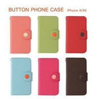 Livework &#x27;Button Case&#x27; Leather Wallet Phone Case for iPhone 4/4S 6 Colors | eBay