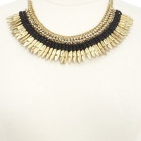 Rhinestone, Cord & Feather Collar Necklace