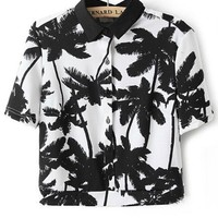 Tropical Palm Button-up Cropped Shirt