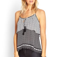 FOREVER 21 Abstract Print Flounced Cami Black/Cream