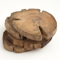 Teak Wood Coasters - Set of 4 | Poketo