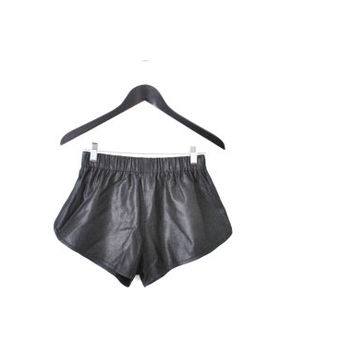 black leather jogging shorts small