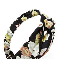 FOREVER 21 Watercolor Floral Headwrap Black/Multi One