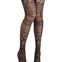 ModCloth Film Noir, Pinup, Vintage Inspired, French Blissful Thinking Tights
