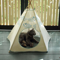 Cat Bed - Cat Teepee - Cat Tent - Sky Blue Kiteepee