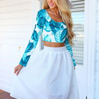 CHECKMATE SKIRT (WHTE) - White checkered midi skirt