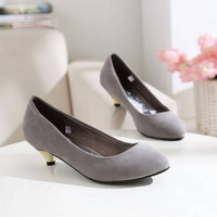 Wholesale Suede small pointed toe metal heeled shoes Z-YMRY-3 grey - Lovely Fashion