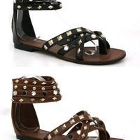 LADIES WOMENS DIAMANTE CUFF STRAPPY TOE POST ZIP GLADIATOR ROMAN SANDALS SIZE