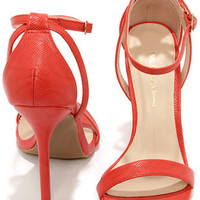 Wild Diva Lounge Adele 94 Orange Red Snakeskin Ankle Strap Heels