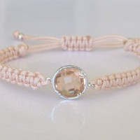 Peach Cream Dreams Elegant Friendship Bracelet Champagne Round Crystal Minimal Sparkle Gift For Her | Luulla