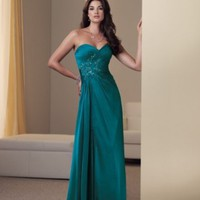 Sassy Column Strapless Chiffon Mother Of The Bride Dresses Wedding Party Dresses With Beads