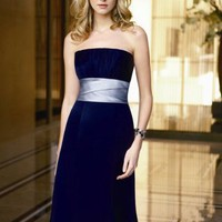 Attractive Empire Strapless Elastic Satin Bridesmaid Dresses Prom Gowns With Waist Band