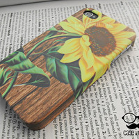 Summer Sun Flower On Wood  Sunshine : iPhone 4s case/ iPhone 4s cover / iPhone 4 Case / iPhone 5 case/ Samsung Case By  CaseAndCraft