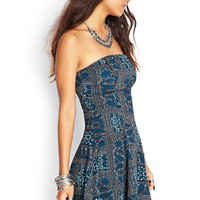 FOREVER 21 Strapless Paisley Dress