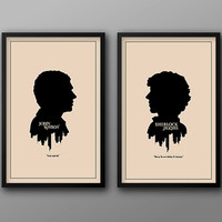 SAVE 10% Off Complete John, Sherlock, Mycroft, and Jim Character Set // Four Modern Art Silhouette Prints