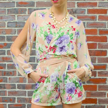 Long Sleeve Wrap Front Floral Romper - Peach/Multi