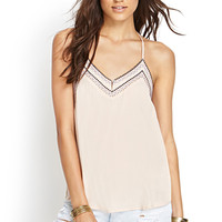 FOREVER 21 Embroidered Bead T-Back Cami Blush/Navy