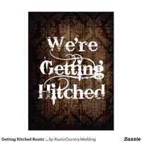 Getting Hitched Rustic Country Wedding Invitations from Zazzle.com