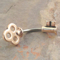 Rose Gold Skeleton Key Belly Button Jewelry Ring In-N-Out