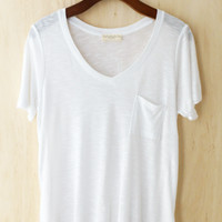 Perfectly Imperfect One-Pocket Shabby Tee, Ivory #2