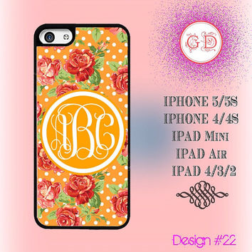 USA Custom Yellow Floral Rose Flower Pattern Monogram @ IPhone 5 / 5S Case , IPhone 4 / 4S Case , IPad Air , IPad Mini Smart Cover #20