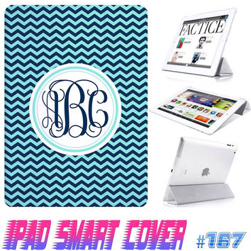 USA Custom IPad Smart Cover Chevron Monogram @ IPad Air Case , IPad Mini smart Cover , IPad 4/3/2 CaseMagnetic Sleep Wake Case #167