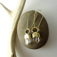 Long, Rough Quartz Point, Crystal, Earrings, Kidney Wires