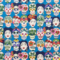 Fabric by the Yard - Alexander Henry -  Gotas de Amor Blue Day of the Dead Sugar Skulls