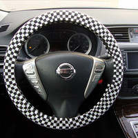 Handmade Steering Wheel Cover Mini Black and White Checker Flag Racing