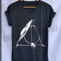 Deathly Hallows Normal Shirt Harry Potter Shirts V-Neck Unisex S M L