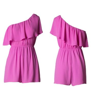 Pink One Shoulder Romper with ruffle