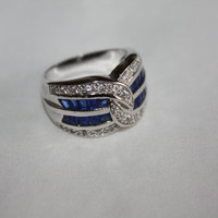 Sterling Sapphire Ring CZ Cocktail Vintage 1980s Sterling Silver Jewelry