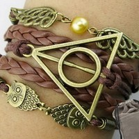 Angel Wings Owls Charms for Harry Potter Deathly Hollows Bracelet Leather Rope