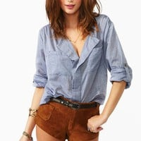 Chambray Pocket Blouse in Clothes at Nasty Gal
