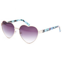 Full Tilt Floral Heart Sunglasses Black Multi One Size For Women 24319496901